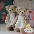 35 cm 2pcs/set  Baby Sister Teddy Bear With Active Joint Lace Dress Plush Stuffed Bear Toy Chrismas Gift