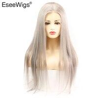 Eseewigs серый Синтетические волосы на кружеве парик 13x6 человеческие прямые волосы полные парики шнурка цвета: золотистый, Серебристый Серый б