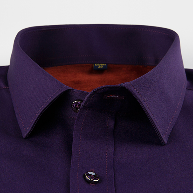 Mens Dark Purple Plus Velvet Thick Warm Shirt Tops Winter Full Sleeve Smart Casual Slim-fit Comfortable Stretch Dress Shirts