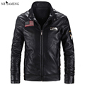 2016 New Fashion Motorcycle PU Leather Jacket Men Slim Fit Short Style Jackets Khaki Black Mandarin Collar Korean  Coat nswt3005