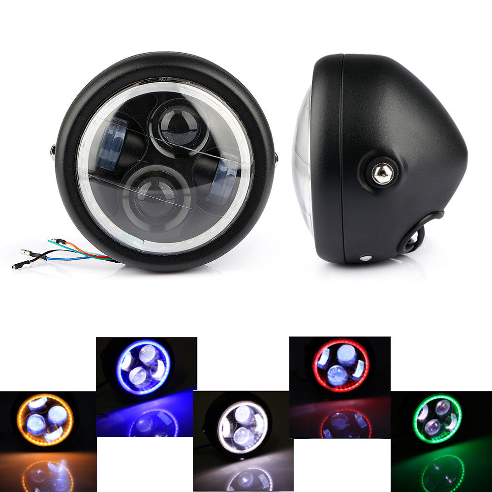 Krator 6 5inch LED Motorcycle Projector Daymaker Headlight Amber Halo Ring For Cafe racers