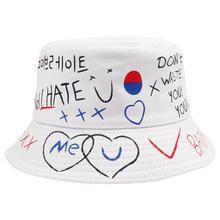 DOLEFT New Korean Summer Harajuku Casual Bucket Hats Men Women Unisex Couple Hip Hop Letter Printed Cotton Panama Fishing Caps