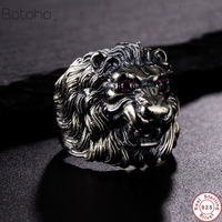 2019 Genuine 925 Sterling Silver Lion King Ring For Men and women's With Red Eyes Inlaid CZ Stone Animal Male Ring Fine Jewelry
