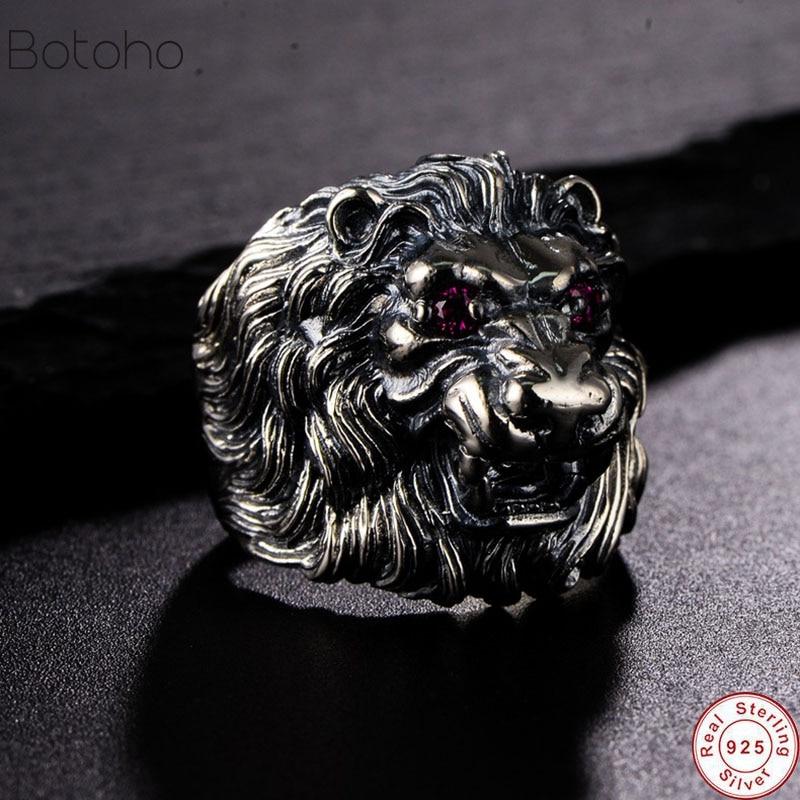 2019 véritable 925 bague en argent Sterling Lion roi pour hommes et femmes avec des yeux rouges incrustés CZ pierre Animal mâle anneau bijoux fins