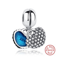 925 Sterling Silver Piece Of My Heart Mother Son Blue Enamel Charm Fit Pandora Original Bracelets