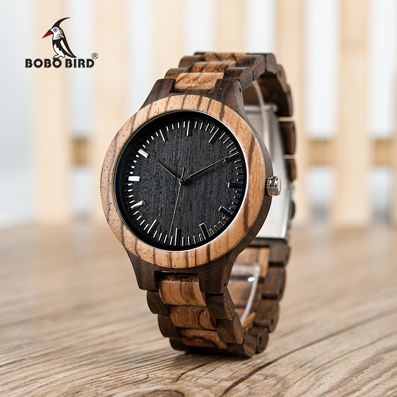BOBO BIRD V-D30 Unique Gradient Zebra Wood Men's Watches Japan Movement Quartz Watch with US RU Oversea Warehouse