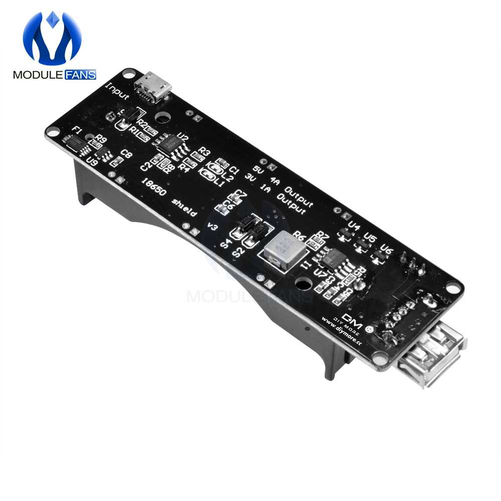 For Wemos 18650 Battery Charge Shield Board V3 ESP32 ESP32S For Raspberry Pi Micro USB Port Type-A USB 0.5A For Arduino Charge