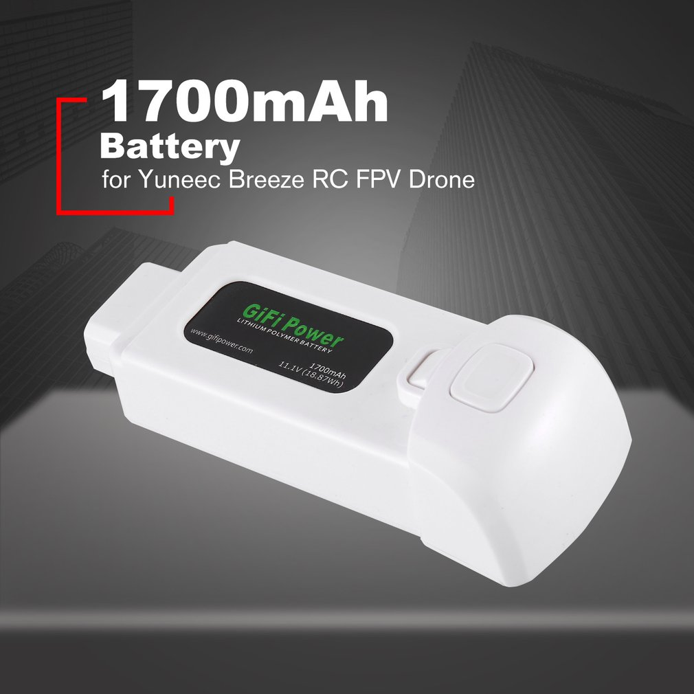 11 1V 1300mAh 1700mAh 14 43Wh Replacement Lithium Polymer Battery for Yuneec Breeze for Flying Camera Drone in Parts Accessories from Toys Hobbies