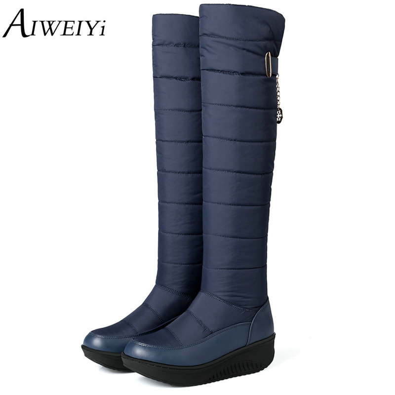 AIWEIYi Women's Thigh High Boots 2018 New Non-slip Waterproof Platform Snow Boots Knee High Boots Black Blue Women Winter Shoes thigh high over the knee snow boots womens winter warm fur shoes women solid color casual waterproof non slip plush wedges botas