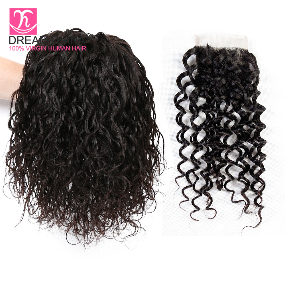Dreamdiana Brazilian Water Wave Bundles With Closure 3/4 Bundles With Closure Natural 1b 100% Remy Wavy Human Hair With Closure Hair Extensions & Wigs Human Hair Weaves