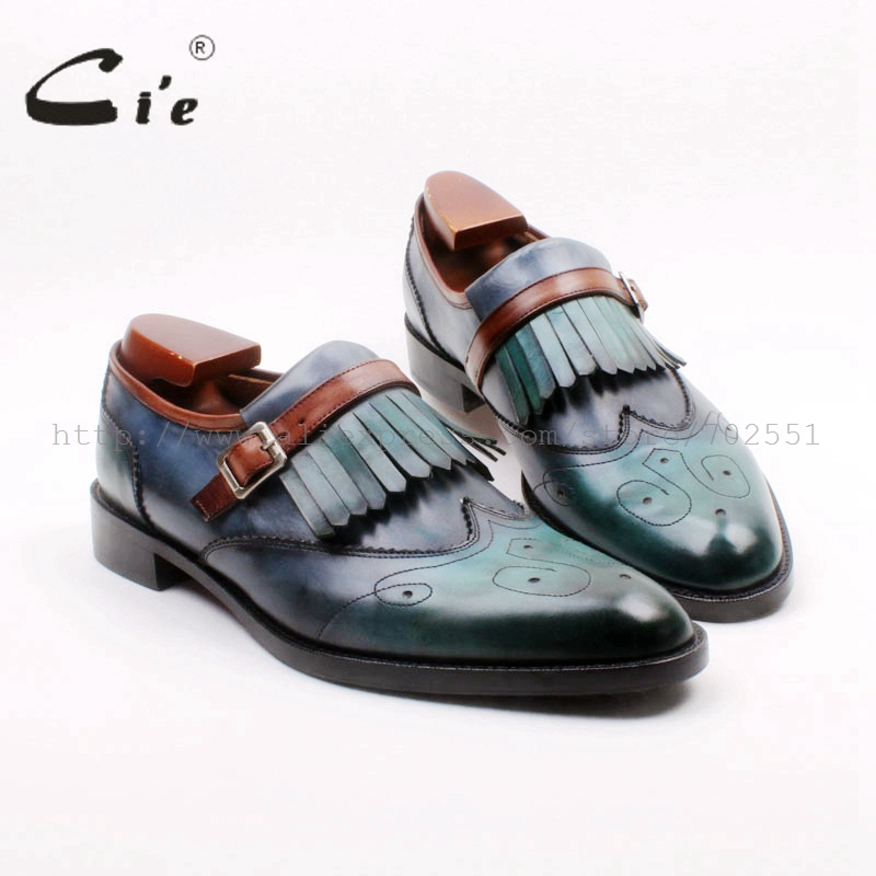 cie Round Toe Full Brogues Cut Outs Tassels Buckles Loafer 100 Genuine Calf Leather BreathableOutsole Man