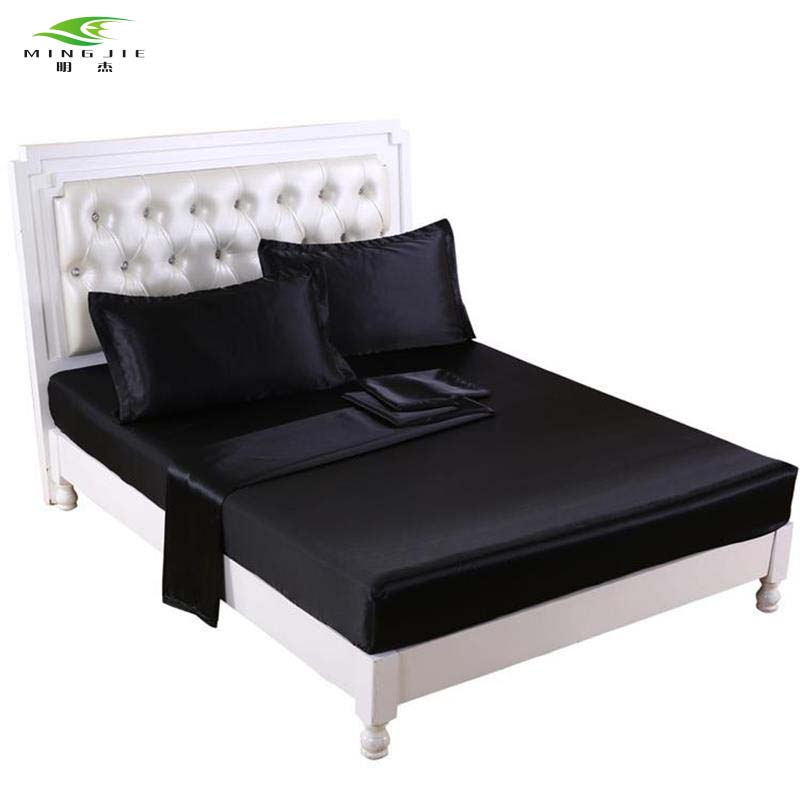 ming jie 2017 fashion black satin bed sheet set queen size 4pcs bed linen pillowcases fitted. Black Bedroom Furniture Sets. Home Design Ideas