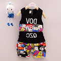 Baby Boy Clothes 2016 Brand Summer Kids Clothes Sets Sleeveless T-shirt+pants Suit Clothing Printed Clothes Newborn Sport Suits