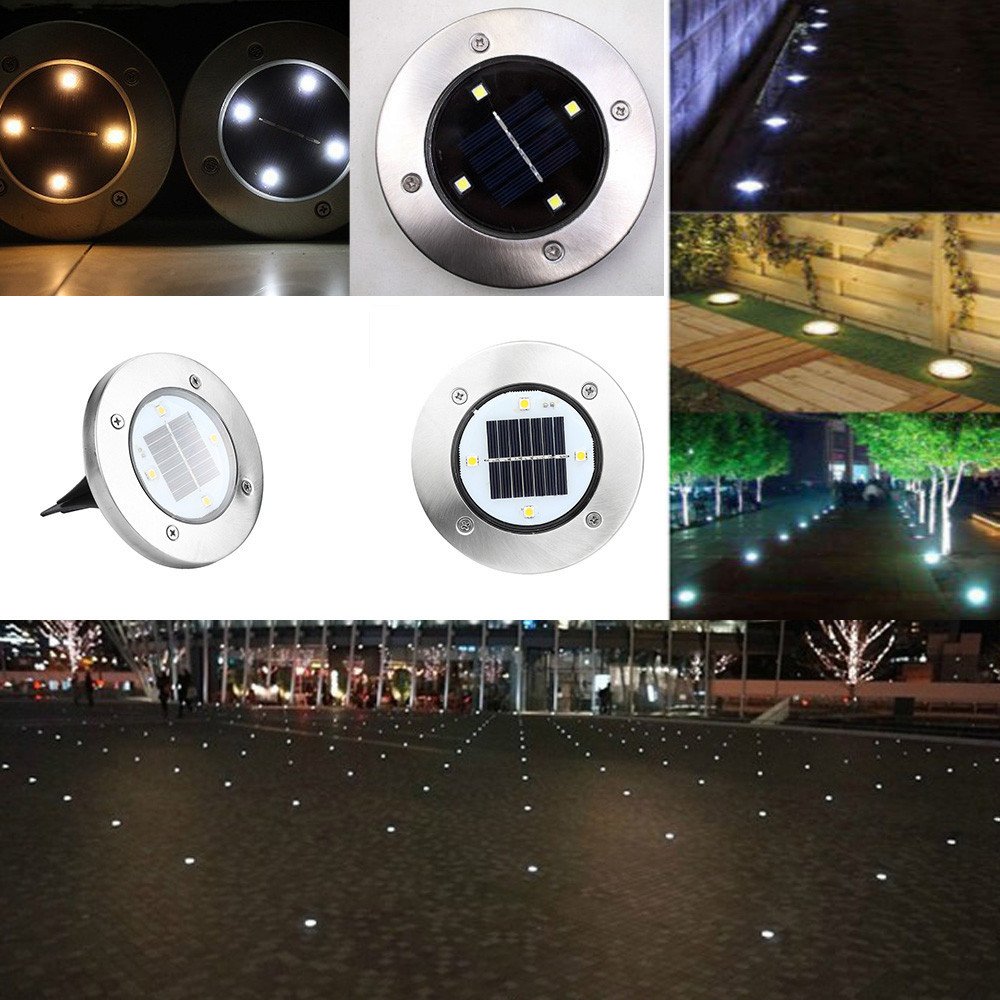 2018 High Quality Solar 4 Led Outdoor Path Light Spot Lamp Yard Garden Lawn Landscape Waterproof Drop Shipping Cleaning The Oral Cavity. Led Underground Lamps