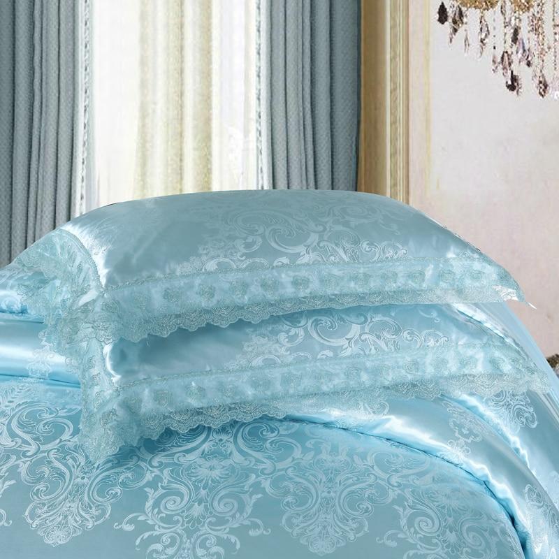 Liv Esthete European Luxury Blue Satin Jacquard Bedding Set Lace Silky Duvet Cover Flat Sheet Pillowcase Queen King Bed Linen in Bedding Sets from Home Garden