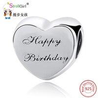 StrollGirl Fit קסמי פנדורה צמיד כסף אותנטי 925 חרוזים כסף סטרלינג עבור תכשיטי נשים לב יום הולדת מקורי