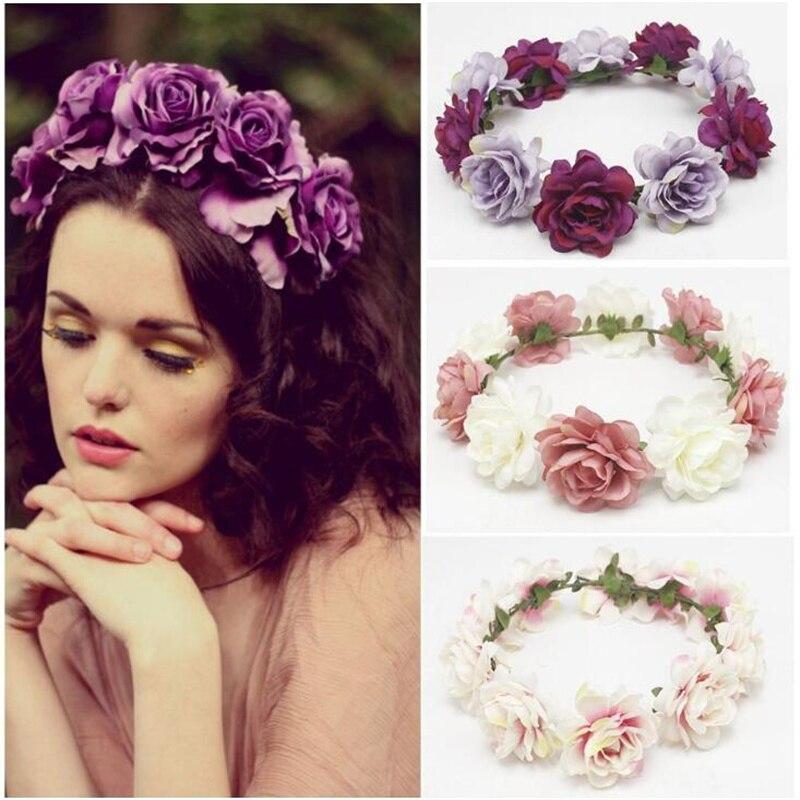 1 Pc Hochzeit Frauen Böhmischen Stil Frühling Sommer Große Blume Stirnband Haarband Fashion Boho Strand Party Haar Zubehör Großhandel