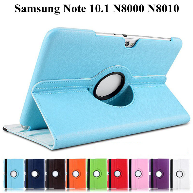 360 Rotating Bracket Flip Stand Leather <font><b>Case</b></font> for Samsung Galaxy Note 10.1 2012 <font><b>GT</b></font>-<font><b>N8000</b></font> <font><b>N8000</b></font> N8010 N8020 Tablet <font><b>Case</b></font>+Film+Pen image