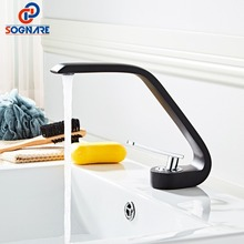 цена на Water Saving Tap Sink Waterfall Taps for Bathroom Sink Faucet Single Handle Cold and Hot Wash Basin Mixer Tap Black Faucet Mixer
