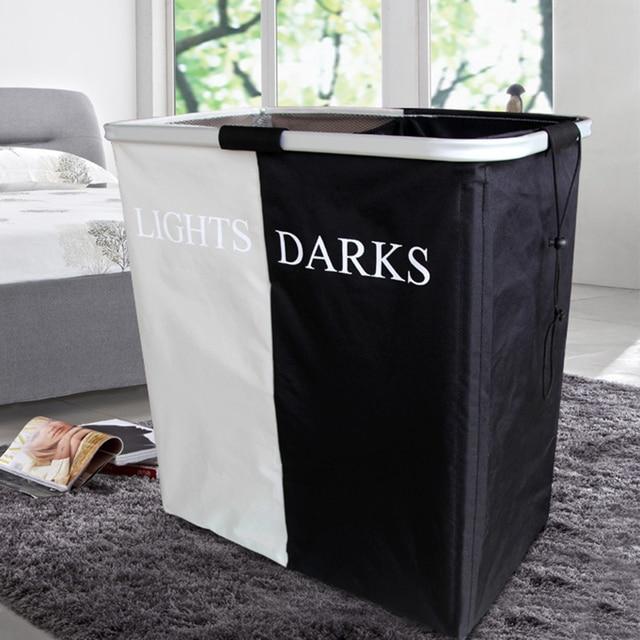 Double Lattice Foldable Laundry Washing Bin Clothes Basket Storage Bag  Hamper   Black + White M