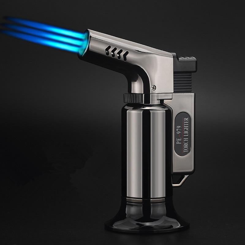 Three Nozzles BBQ Outdoor Torch Turbo Cigar Lighter Spray Gun Jet Butane Pipe Kitchen 1300 C Windproof No Gas