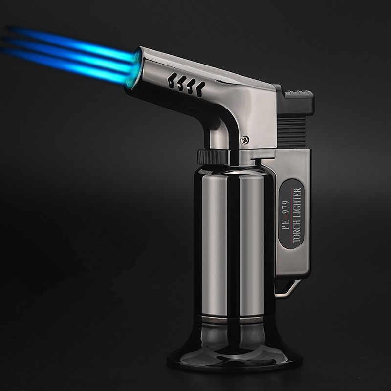 บาร์บีคิวกลางแจ้ง Triple ไฟฉาย Turbo ซิการ์สเปรย์ปืน Jet Butane ท่อไฟแช็กห้องครัว 1300 C ที่มีประสิทธิภาพ Windproof Lighter ไม่มีแก๊ส