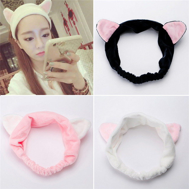 White Elastic Cat Ears Pattern Headband Hair Band Wrap for Fancy Party  Costume Cosplay Girls Makeup Wash Hairband Accessories 1714cd6fcc5
