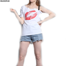 RIUOOPLIE Female Red Lips Printing Stand Alone Harness Modal T-shirt Casual Fashion Sexy Tops Summer