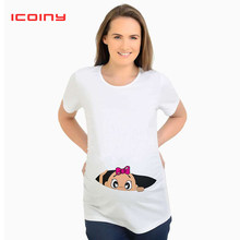 Women's T-shirts Cartoon Maternity Tees Tops Baby is Loading Funny Pregnancy T shirts Cotton T-shirt for Pregnant Women Tees(China)