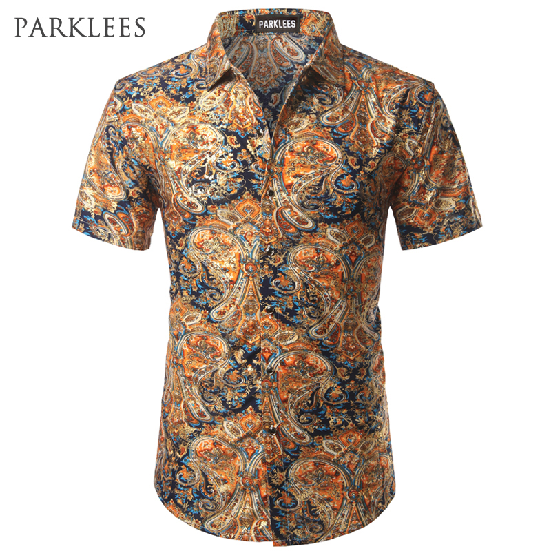 Paisley Floral Shirt Men 2017 Summer Brand Mens Dress Shirts Gold Velvet Flower Print Chemise Homme Casual Slim Fit Silk Shirts