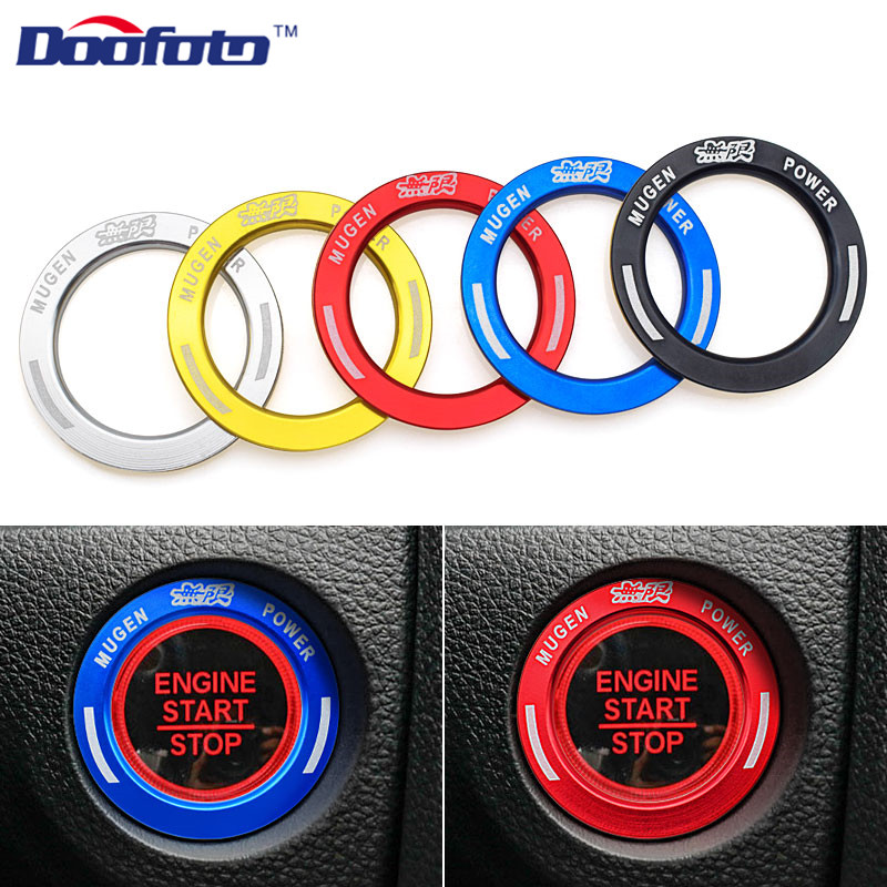Doofoto Car Styling Case For Honda Mugen Car Start Button Key Rings Engine Cover Fit For Honda Civic 2019 Auto Decal Accessories
