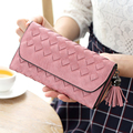2017 High Quality Women PU Leather Woven Long Wallet Famous Bags Tassel Handbag Clutch Coin Purse Girls Gifts Free Shipping P360