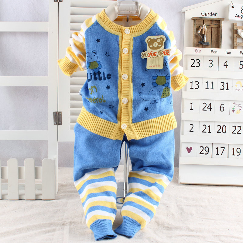 2016 New Infant Sweater Cotton Baby Sweater Suit Baby Clothing Baby Clothes Set Unsix Set Toddler Cloth warm cloth
