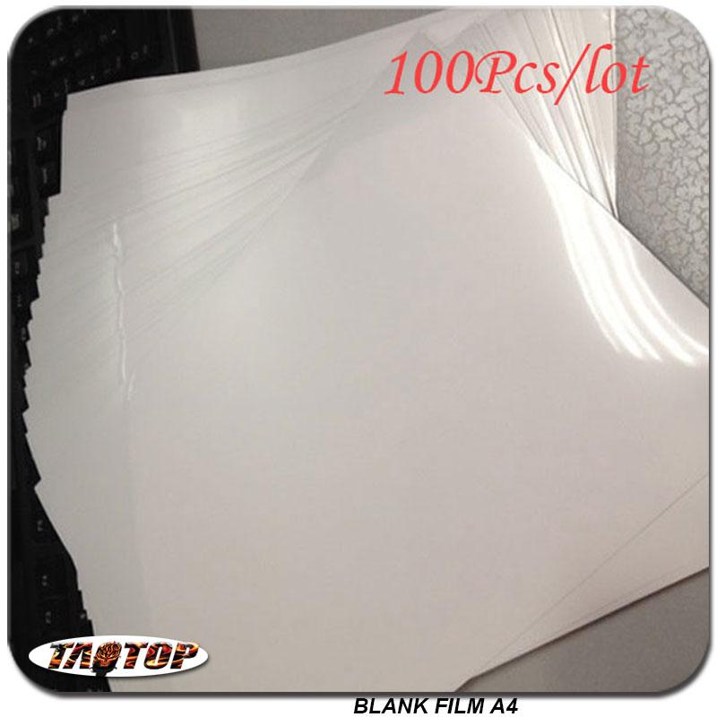 Envío Gratis 100 unids / lote Tamaño A4 Hidrográfica DIY Impresión de inyección de tinta Película en blanco de prueba Material decorativo de transferencia de agua