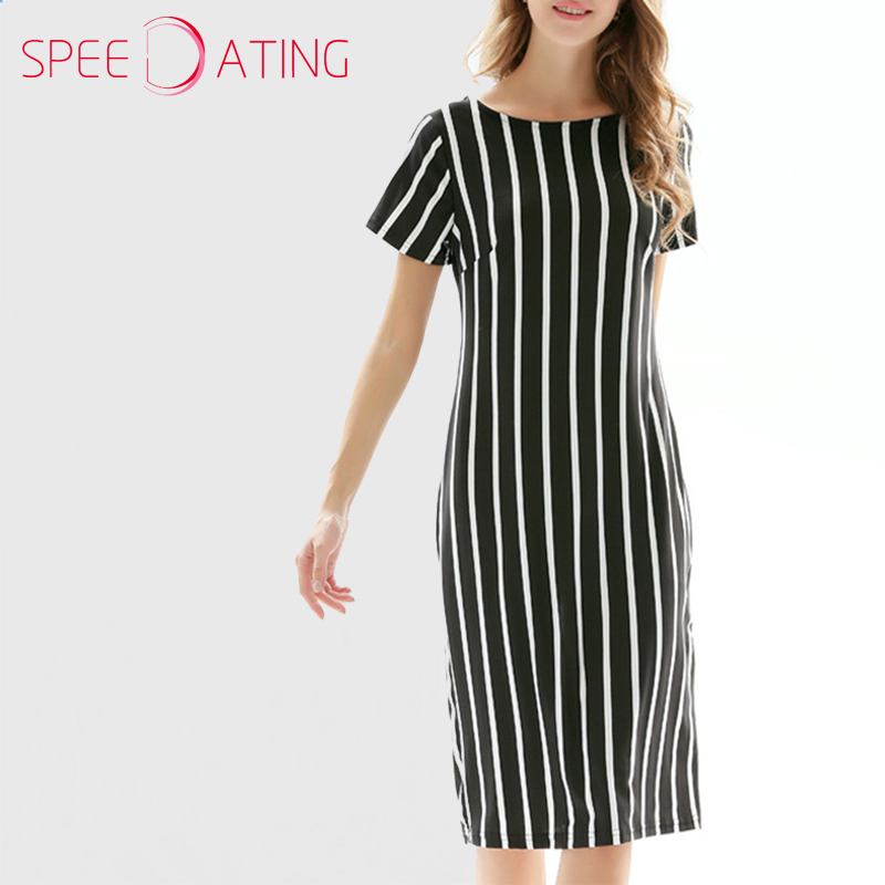 9e65140e2933 Brief Round Neck Short Sleeve Summer Dress Straight Round Neck Knee Length  Maxi Dresses Vertical Striped Casual Dress SPEEDATING-in Dresses from  Women's ...