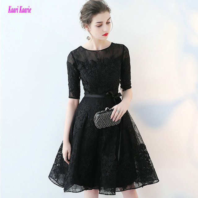 5f27c91c15a Fashion Little Black Prom Dresses 2018 New Sexy Porm Gowns Short Custom Made  O-Neck Lace Appliques Knee-Length Prom Party Dress