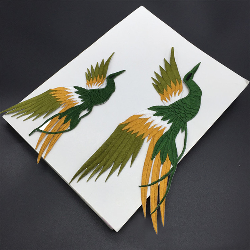 1set 4 pcs bird iron on adhesiver Phoenix bird combination embroidery lace cloth paste fabric applique patch DIY clothing part in Patches from Home Garden