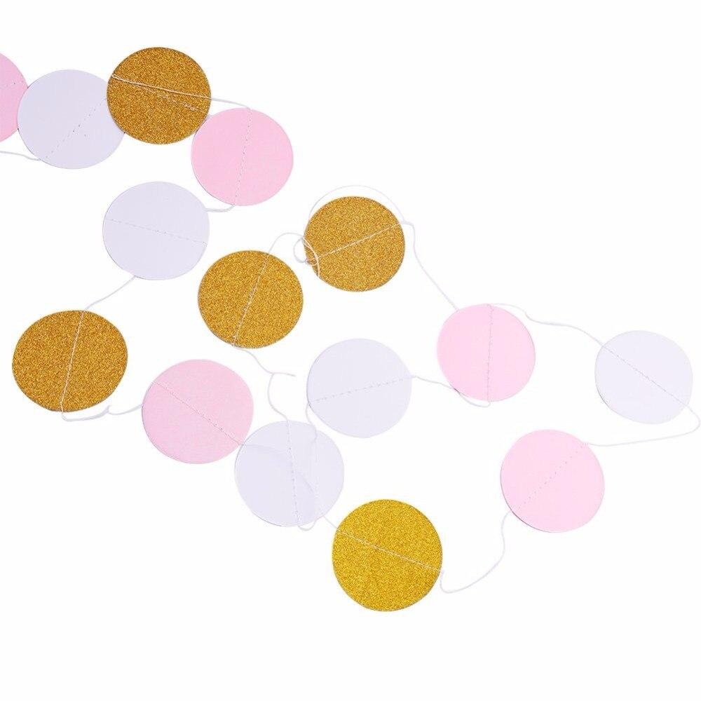 4 stücke DIY Glitter Partydekoration Garland, Gold Weiß Rosa Kreis ...