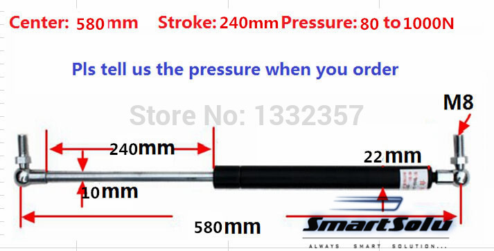 Free shipping 80 to 1000N force 580mm central distance, 240 mm stroke, pneumatic Auto Gas Spring, Lift Prop Gas Spring Damper free shipping500mm central distance 200mm stroke 80 to 1000n force pneumatic auto gas spring lift prop gas spring damper
