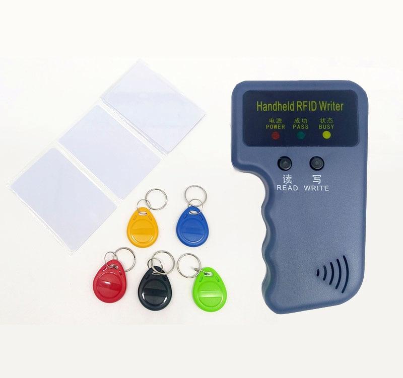 HTB1O0a5XoLrK1Rjy1zbq6AenFXan Handheld 125KHz EM4100 TK4100 RFID Copier Writer Duplicator Programmer Reader + 5pcs EM4305 T5577 Rewritable ID Keyfobs Tags