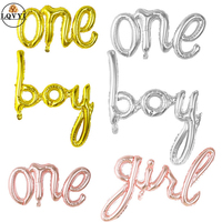 50pcs Rose Gold link One Boy Girl Hello Baby Letter Foil Balloons Baby Shower 1st First Birthday Party Decoration Air Balloons