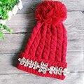 High Quality Sweet Hat Women Cute Skullies Beanie Rhinestones Knit Snowboard Winter Hats for Women Warm Cap Girl Pink C10