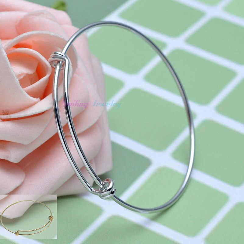 5 sztuk moda drut miedziany/stal nierdzewna Metal rozbudowy bransoletka baza regulowany pusty bransoletka DIY Charm bransoletki i Bangles