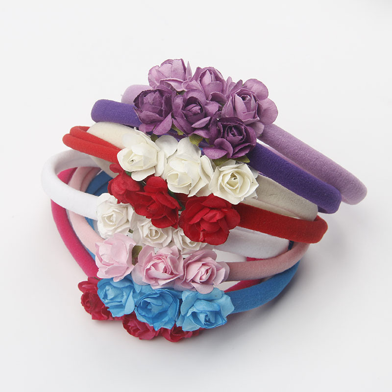 Infant Newborn Hair flowers Three Rose Flower Baby girls Headband Elastic Nylon Colorful Headbands Children Photo props