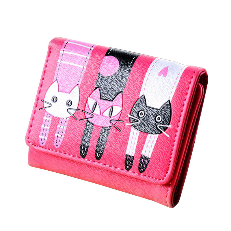 Korean Style Cute Cat Ladies Short Wallet, Girl's Cheapest Car Holder Coin Purse, Women Candy Color Dollar Price Money Bag