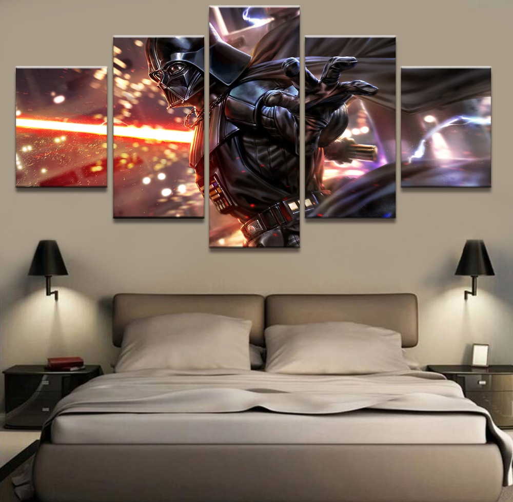 Home Decor Canvas Pictures HD Prints Poster 5 Pieces Movie Star Wars Millennium Falcon Paintings Living Room Wall Art image
