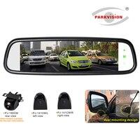 PARKVISION 180 градусов Широкий Ангел Full HD Зеркало заднего вида Monitor Set w/сбоку + заднего вида Камера для парковка для автомобиль