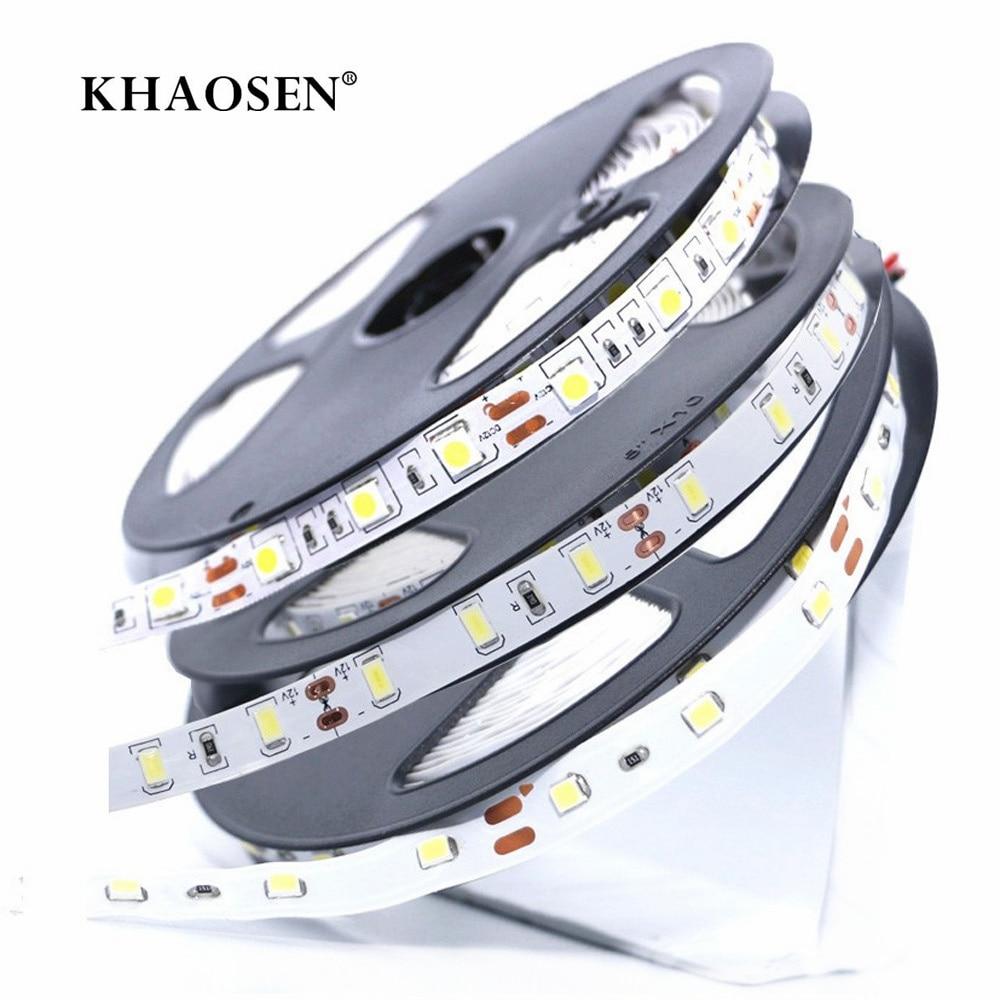 SMD 2835 5630 5050 NO-Waterproof RGB LED Strip 60LEDs/M 1m-5m DC12V Flexible LED String Light Ribbon Tape Home Decoration Lamp