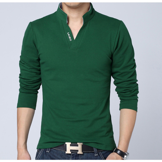 Hot Sale Men Tops Tees New Brand Tops Fashion V Neck Polo Shirts Male Slim Autumn Pure Color Clothes Plus Size Men's Clothing