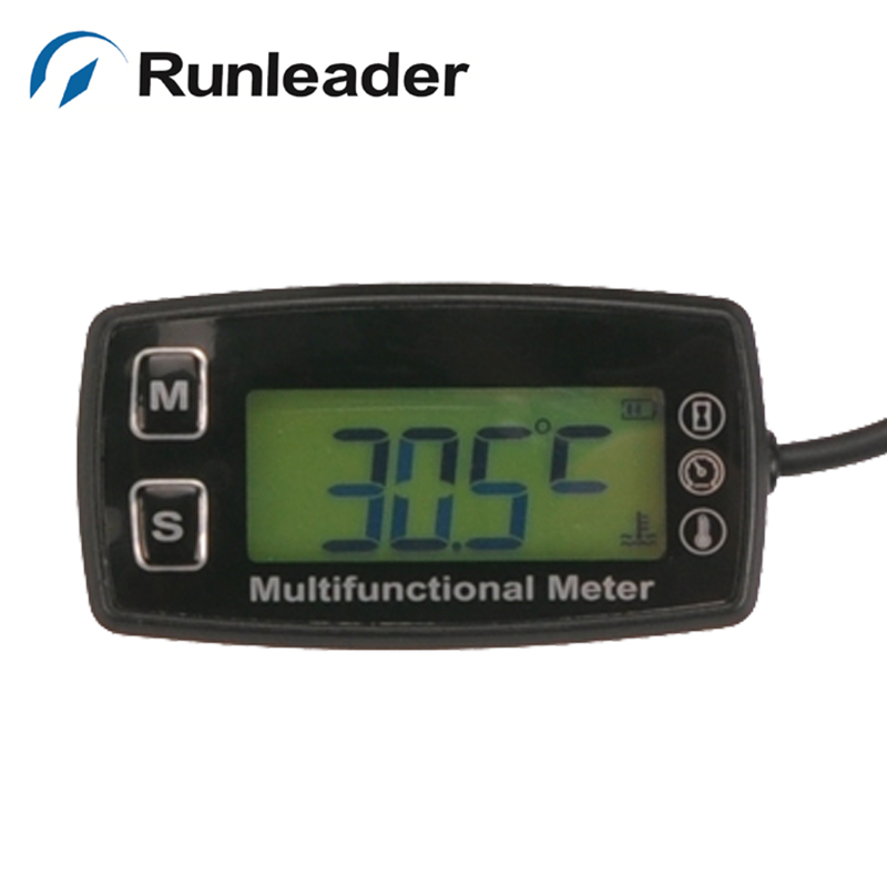 Digital LCD RL-TS001 PT100 -20- +300 Celsius Temp Tachometer Hour meter with temp sensor for boat marine motorcycle tractor ts001 pt100 20 300 2 temp sensor temp meter temperature thermometer for generator trimmer trailer stump grinders snowmobile